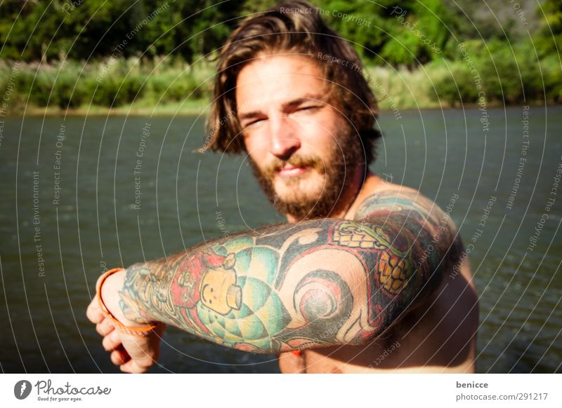 Human being Nature Man Youth (Young adults) Vacation & Travel Water Hand Summer Young man Eroticism Arm Europe Tattoo European Facial hair Indicate