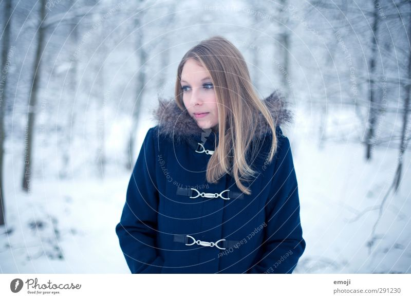 January Feminine Young woman Youth (Young adults) 1 Human being 18 - 30 years Adults Environment Nature Winter Coat Fur coat Blonde Beautiful Cold Blue Snow
