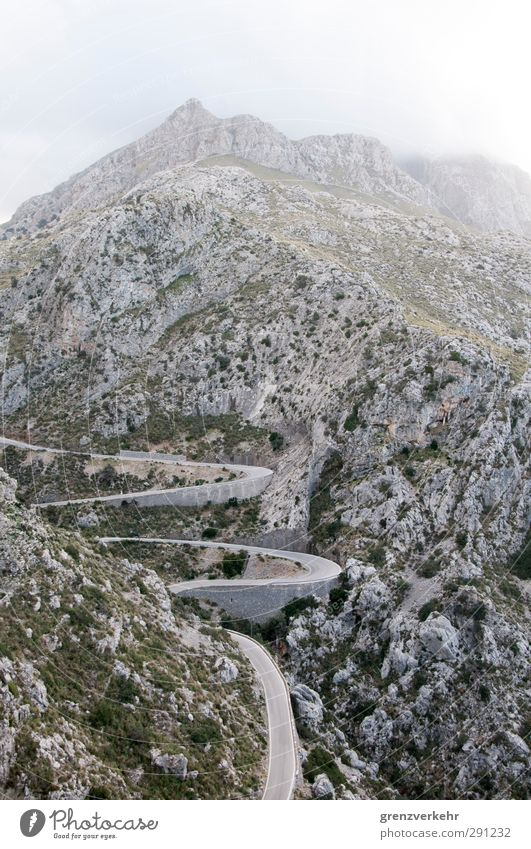Curvaceous Mountain Traffic infrastructure Street Loneliness Winding road Curve Meandering Wiggly line Zigzag Slope serpentine road Sa Calobra Majorca