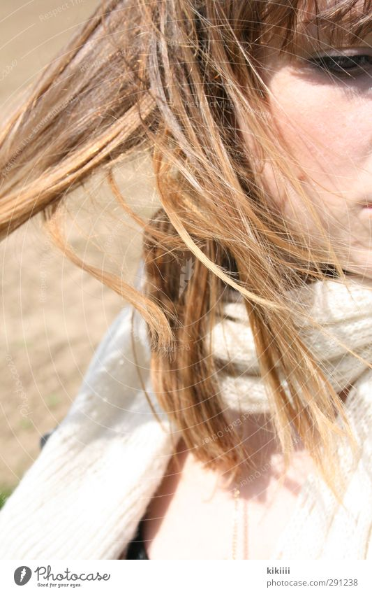 wind Wind Hair and hairstyles Face Girl Scarf Looking Eyes Cold Bright Beige Field Sun Sunbeam Movement Dreamily
