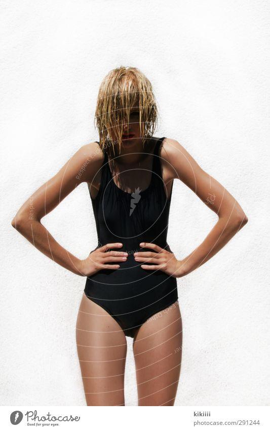 sunny White Black Girl Swimsuit Blonde Wet Posture Stand Wild Sun Sunbeam Brown Skin Tanned Body Hand Evil Earnest
