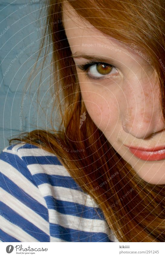 Summer Girl Eyes Playing Hair and hairstyles Orange T-shirt Lips Striped Red-haired Freckles Lipstick