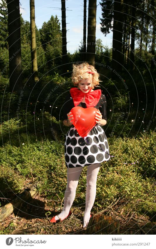 Sweet Heart Balloon Red Girl Blonde Curl Clown Bow tie Black White Forest Meadow Tree Confetti Carnival Tights Joy Laughter Point Circus