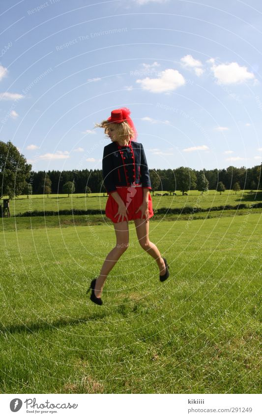 airy Jump Girl Hop Dance High heels Skirt Red Green Meadow Sky Hat Circus child Circus ring Legs Blonde Sun Exterior shot