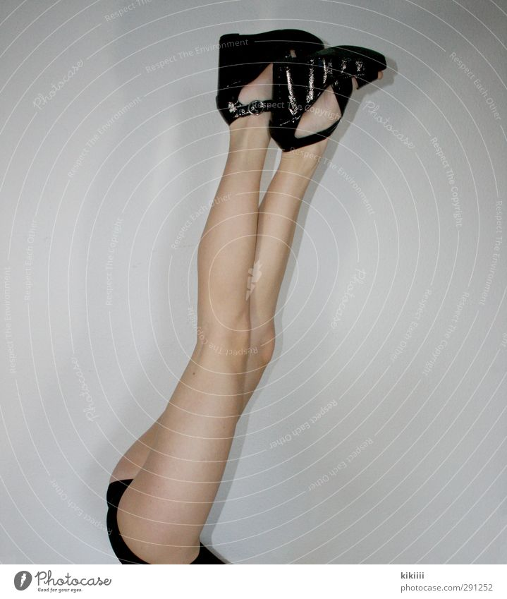 stilts Legs Long Footwear Black Girl Stretching Consecutively body into the air Bottom Thin Skin