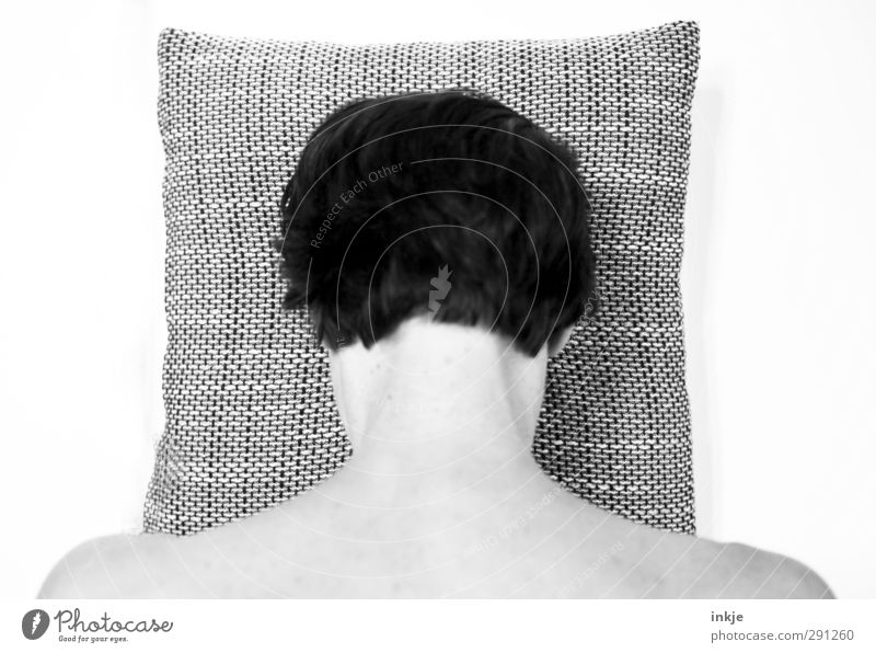 SHAME ON YOU! Healthy Illness Relaxation Calm Human being Woman Adults Life Head Hair and hairstyles Nape 1 Black-haired Short-haired Cushion Pillow Checkered