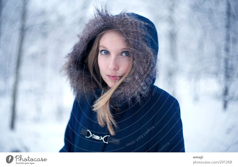 january Feminine Young woman Youth (Young adults) 1 Human being 18 - 30 years Adults Nature Winter Fur coat Beautiful Cold Blue Colour photo Exterior shot Day