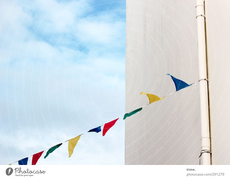 small town party Sky Clouds Beautiful weather Wall (barrier) Wall (building) Facade Downspout Flag Hang Simple Friendliness Happiness Fresh Funny Warmth Joy