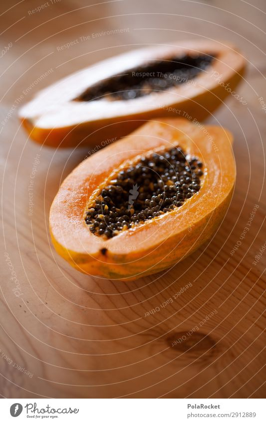 #A# Papaya Art Esthetic Fruit Healthy Eating Delicious Colour photo Subdued colour Interior shot Close-up Detail Experimental Abstract Deserted Copy Space left
