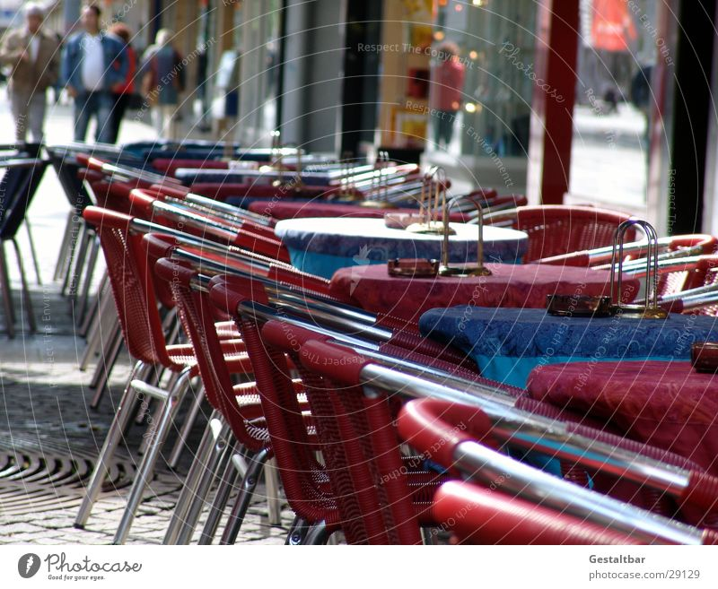nothing going on Empty Chair Red Sidewalk café Table Deserted Pedestrian precinct Formulated Nutrition city cafe