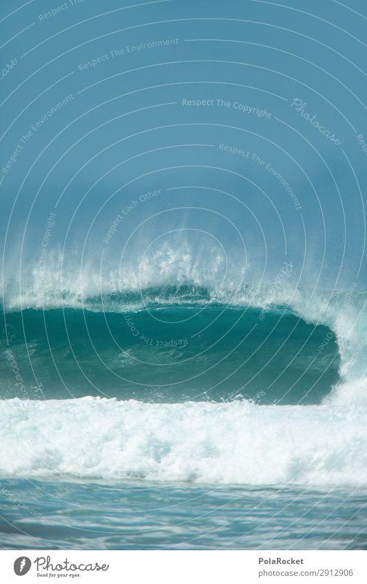#A# Falling Blue Art Esthetic Ocean Sea water Waves Swell Undulation Wave action Wellenkuppe Wave break Surf Surfing Surfer Surfboard Surf school Colour photo