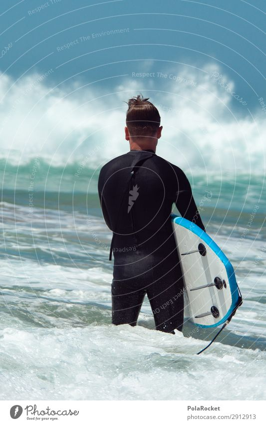 #A# Learn 1 Human being Esthetic Ocean Waves Swell Surfing Surfer Surfboard Surf school Fuerteventura Colour photo Multicoloured Exterior shot Detail
