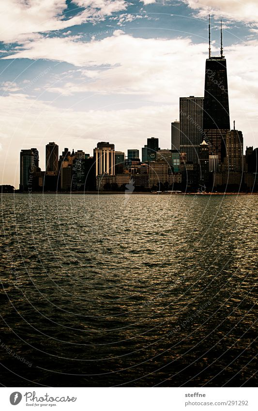 Northern Downtown Chicago Sky Beautiful weather Lake Michigan Lake USA Town Skyline High-rise Landmark Hancock Center Esthetic Exceptional Colour photo