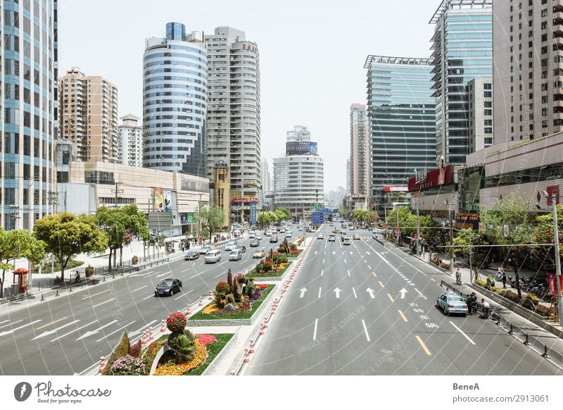 Street scene in Shanghai, China Life Vacation & Travel Human being Asia Town Downtown Pedestrian precinct Skyline Overpopulated House (Residential Structure)