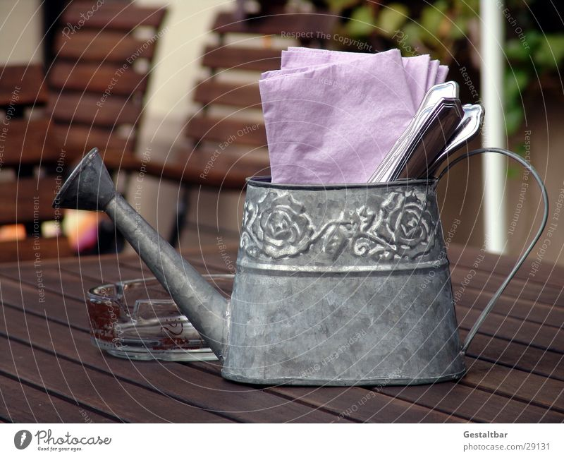 can Jug Watering can Cutlery Napkin Ashtray Wooden table Restaurant Formulated Nutrition Decoration