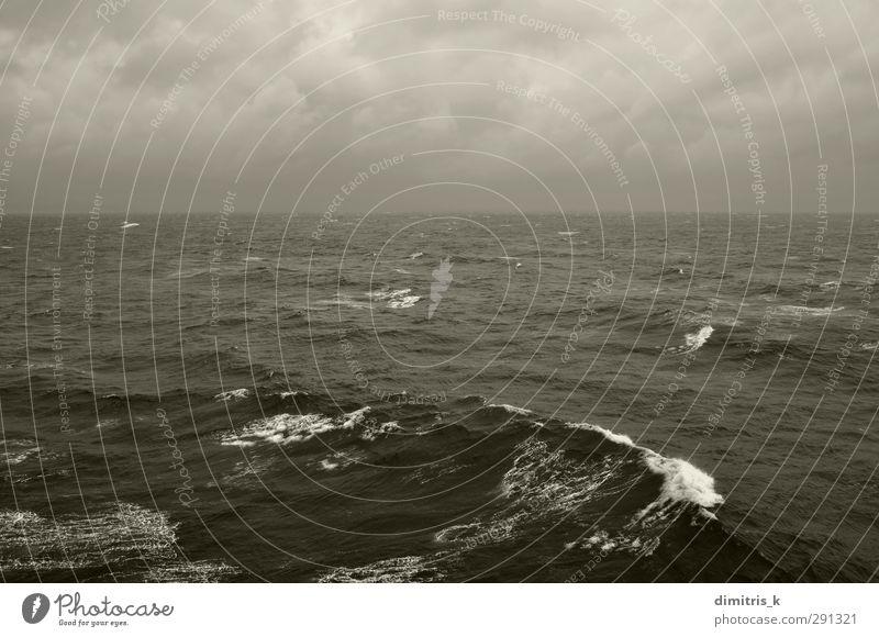 winter sea waves and cloudy sky horizon Ocean Waves Winter Nature Landscape Sky Clouds Horizon Weather Storm Wind Fog Rain Coast Dark Gray Black Restless