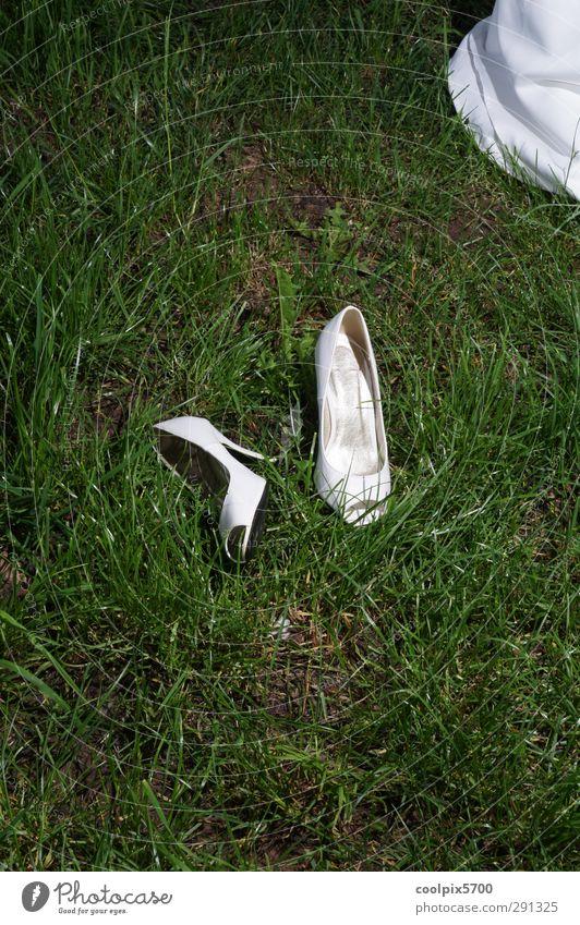 "ow Happy ""Wedding Footwear wedding shoes Bride Wedding dress dance Meadow Green Lawn Grass White neat relaxation Blowing Feminine Nature Summer"