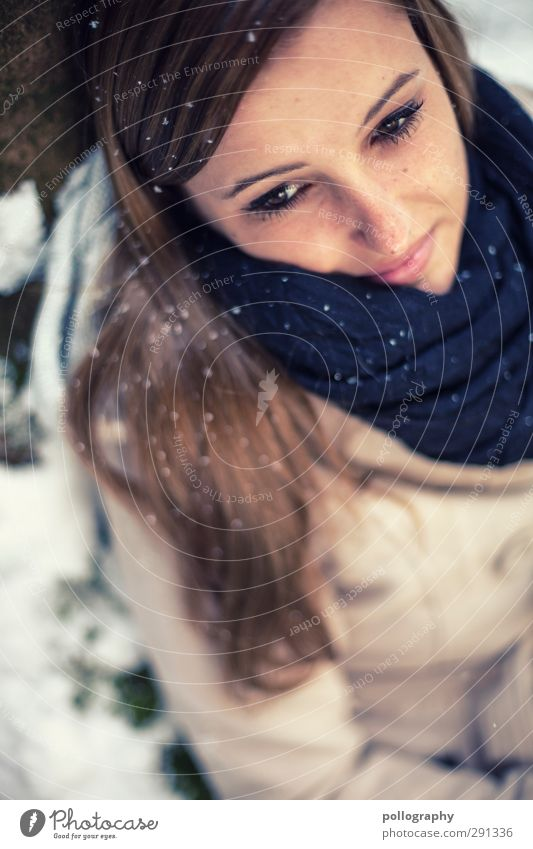 Human being Woman Nature Youth (Young adults) Beautiful Tree Joy Winter Forest Adults Young woman Snow Life Feminine Emotions Hair and hairstyles