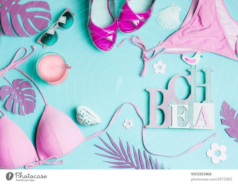 Pink beach accessories on blue background Beverage Longdrink Cocktail Style Design Vacation & Travel Summer Summer vacation Beach Feminine Nature Fashion Bikini