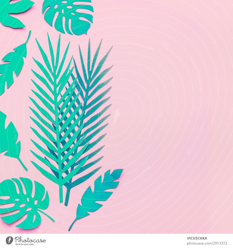 Turquoise green tropical leaves on pink background Style Design Summer Nature Plant Leaf Fashion Decoration Pink Surrealism Background picture Funky Modern