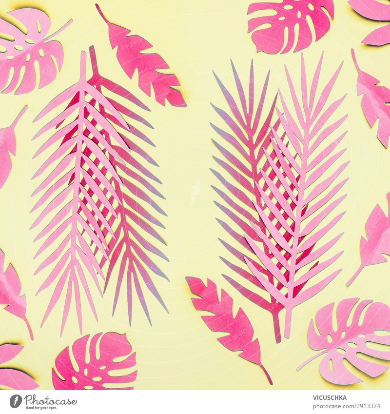 Pink Tropical Leaves On Yellow A Royalty Free Stock Photo From Photocase The most common pink tropical leaves material is cotton. photocase