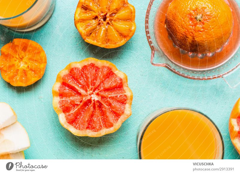 Freshly squeezed orange juice Food Orange Nutrition Breakfast Beverage Juice Shopping Style Design Healthy Healthy Eating Yellow Background picture Vitamin