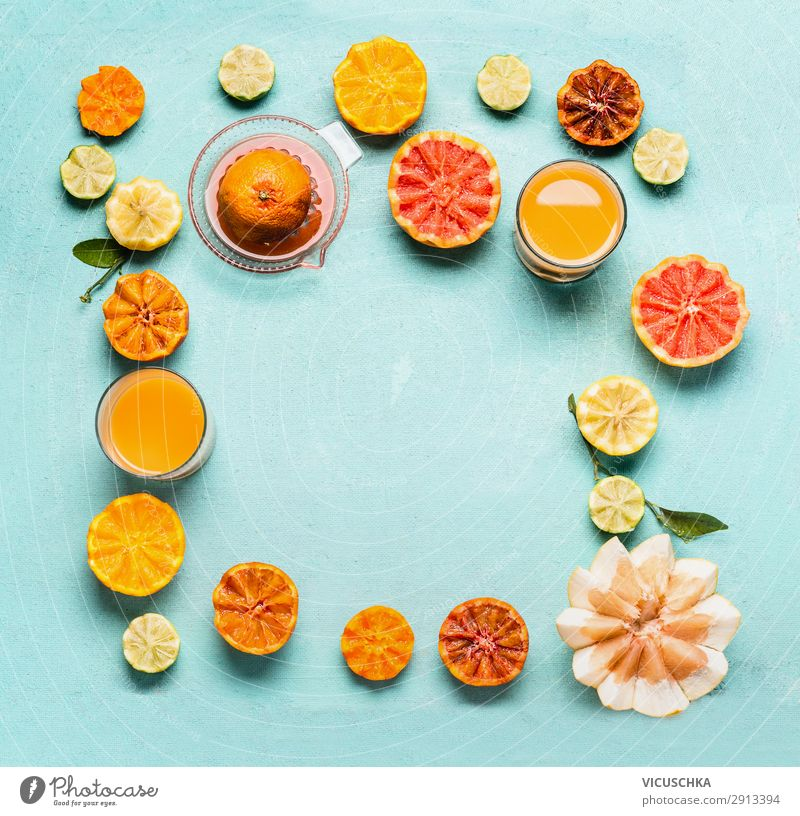 Citrus fruits with citrus juice, frame Food Fruit Orange Beverage Juice Crockery Glass Shopping Style Design Healthy Healthy Eating Yellow Vitamin C Grapefruit
