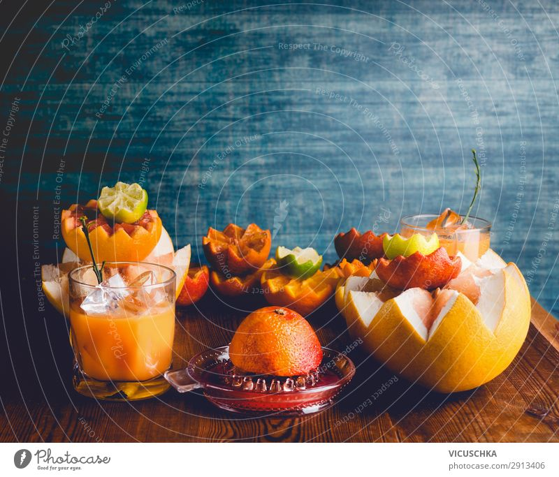 Citrus fruits and juice in glass Food Fruit Orange Nutrition Organic produce Vegetarian diet Diet Beverage Juice Glass Style Design Healthy Healthy Eating