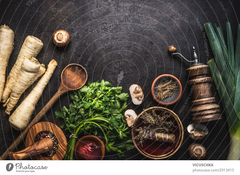 Vegetarian Food background with parsley roots Vegetable Herbs and spices Nutrition Organic produce Vegetarian diet Diet Crockery Design Healthy Eating