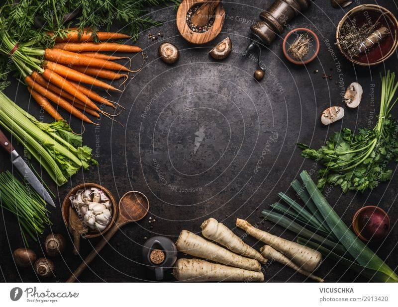 Various organic farm vegetables frame Food Vegetable Herbs and spices Nutrition Organic produce Vegetarian diet Diet Crockery Shopping Style Design