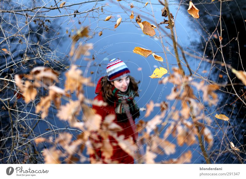 Little Red Riding Hood Happy Fishing (Angle) Winter Woman Adults Youth (Young adults) Body Head 1 Human being 18 - 30 years Nature Autumn Forest Pond Jacket
