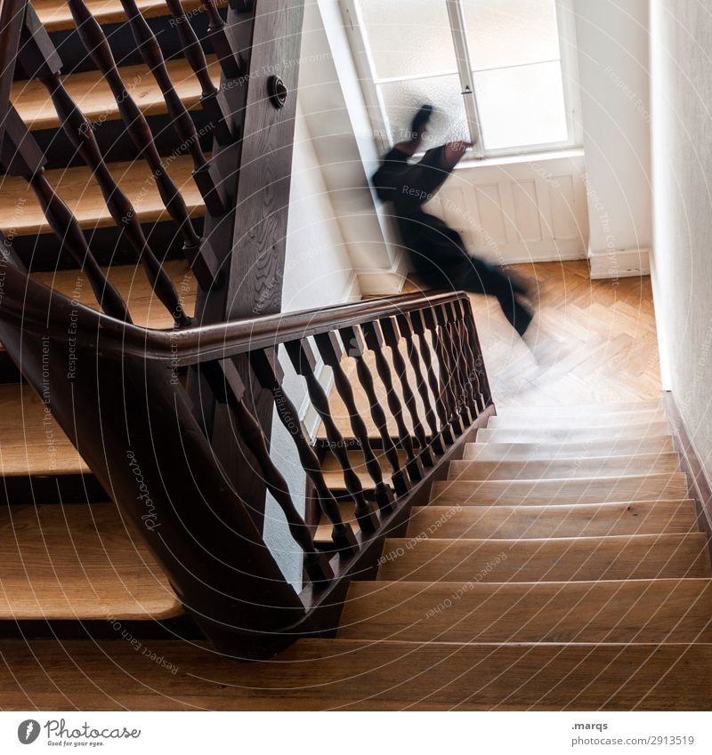 Start the day Human being Young man Youth (Young adults) 1 Staircase (Hallway) Banister Stairs Old Joy Joie de vivre (Vitality) Brave Beginning Movement Skid