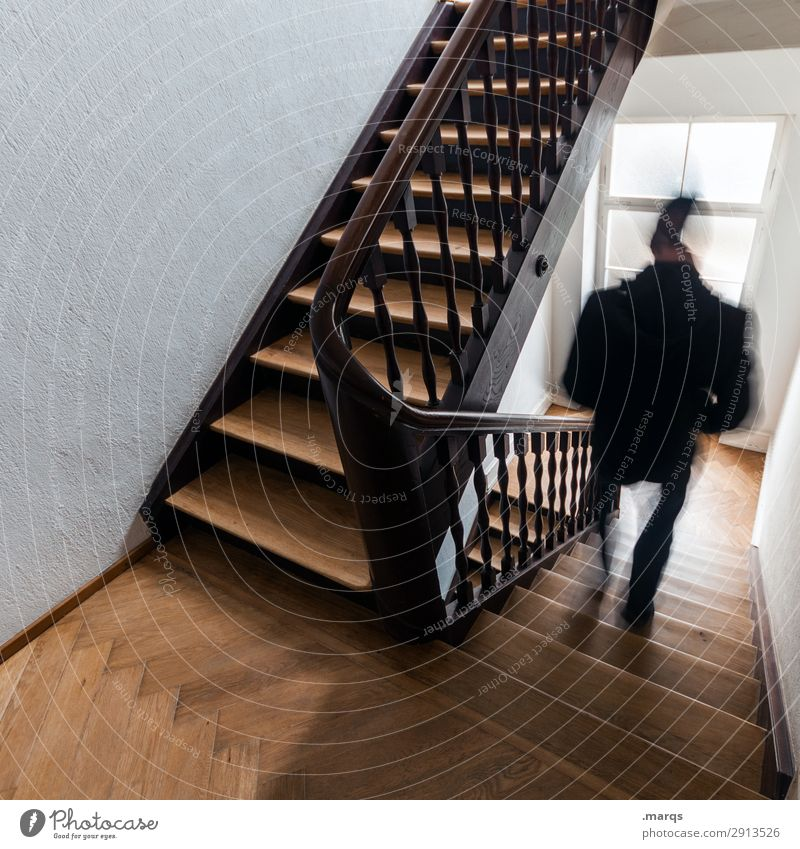 Leave Home Masculine 1 Human being Old building Staircase (Hallway) Stairs Movement Going Colour photo Interior shot Motion blur