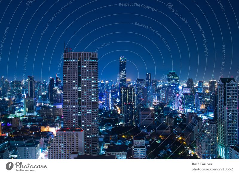 Bangkok at night Thailand Asia Capital city Downtown Skyline Architecture Modern Blue Town Skyline at night Colour photo Exterior shot Deserted Night