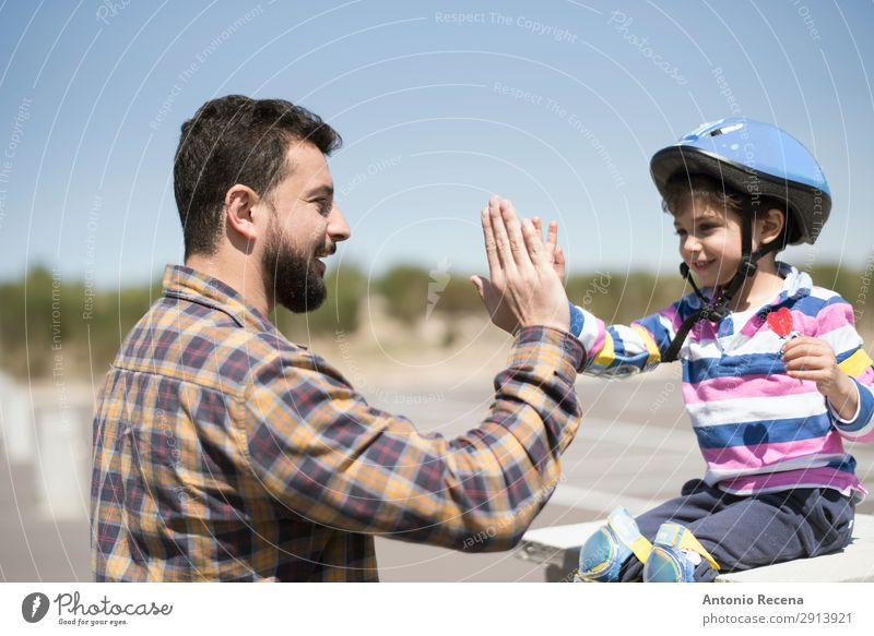 Hi five my child Lifestyle Happy Child Human being Boy (child) Man Adults Father Family & Relations 2 3 - 8 years Infancy 30 - 45 years Beard Touch Smiling