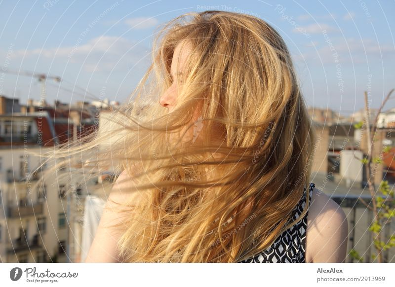 Youth (Young adults) Young woman Summer Town Beautiful Landscape House (Residential Structure) Life Spring Natural Style Hair and hairstyles Horizon