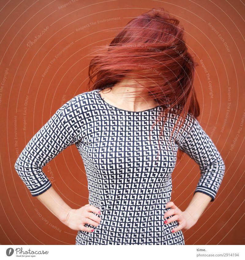 Torque (II) Feminine Woman Adults Hair and hairstyles 1 Human being Wall (barrier) Wall (building) Dress Red-haired Long-haired Movement Rotate Stand Beautiful