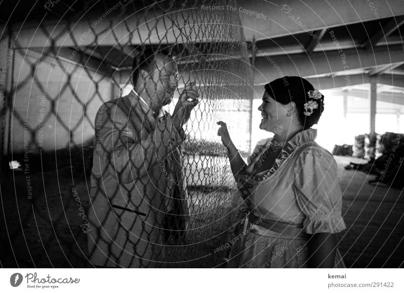 Interference factor | Wire mesh fence Human being Masculine Feminine Woman Adults Man Couple Partner Head Face Arm Hand 2 18 - 30 years Youth (Young adults)