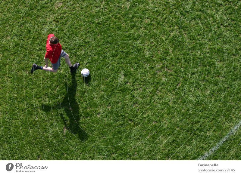 soccer Football pitch Bird's-eye view Grass Green Playing Shadow Sports Soccer Running Tread