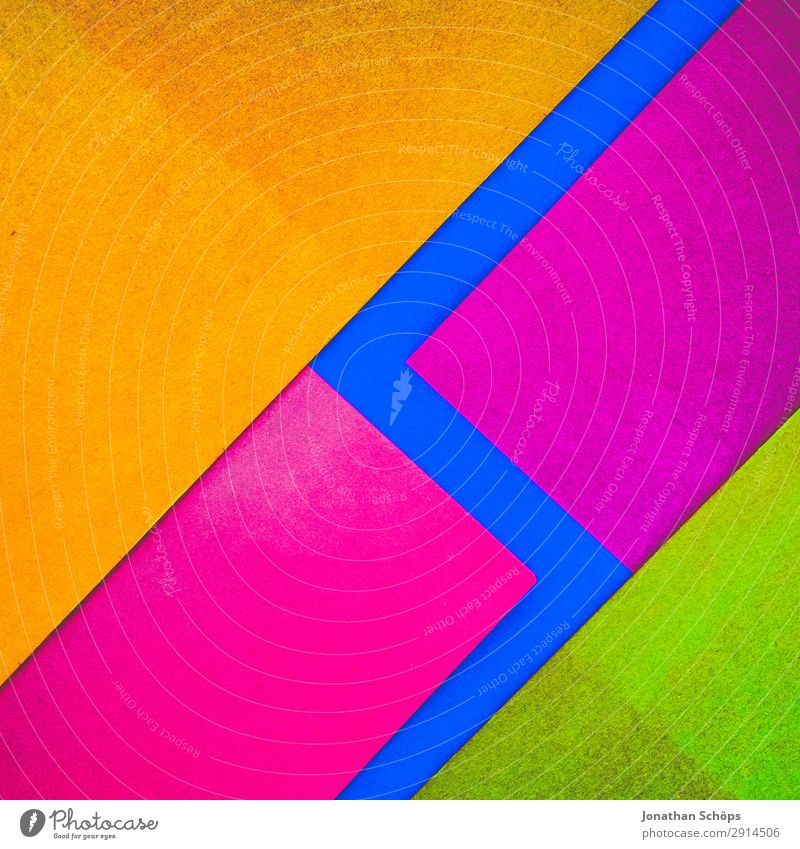 Blue Red Background picture Yellow Copy Space Pink Illuminate Paper Simple Tilt Graphic Handicraft Geometry Conceptual design Cardboard Neon