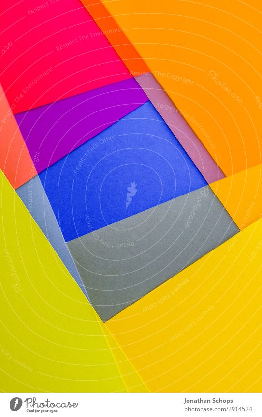 graphic background image made of coloured paper Handicraft Paper Illuminate Simple Blue Yellow Pink Red Background picture Square Flat Geometry Graphic Flashy
