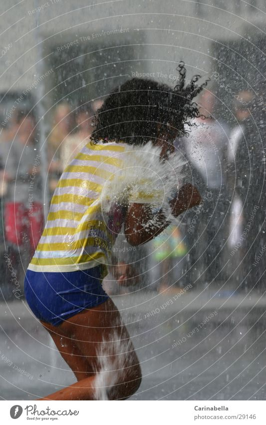 Human being Child Water Summer Playing Wet Inject Fountain