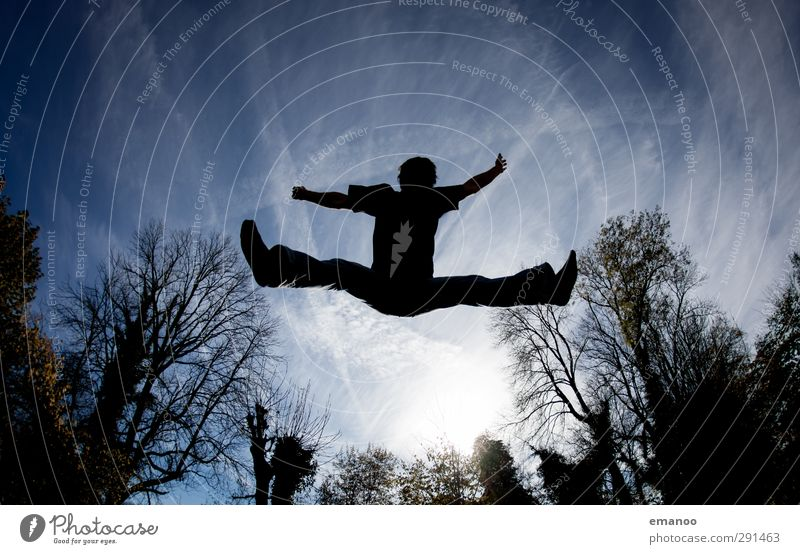 Human being Sky Nature Man Blue Summer Tree Sun Joy Adults Dark Sports Movement Freedom Style Jump