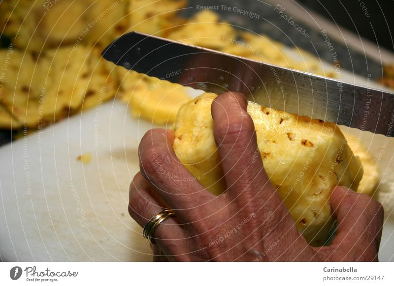 Hand Yellow Healthy Fruit Fingers Division Knives Dessert Cut Chopping board Human being Pineapple share