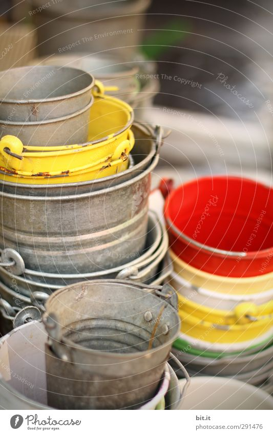 many pots do not give a garden by far Leisure and hobbies Handicraft Garden Decoration Old Round Yellow Red Silver Tin Bucket Tub Containers and vessels