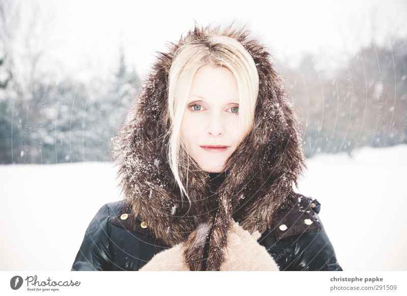 Human being Youth (Young adults) Beautiful Winter Young woman Adults Cold Snow Feminine 18 - 30 years Style Bright Snowfall Ice Blonde Elegant