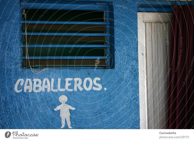 Men! Lettering Door Window Obscure Toilet caballeros Blue hand drawing