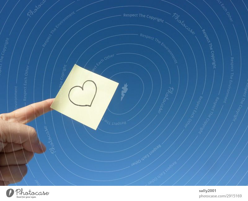 Remember... Hand Fingers Sky Cloudless sky Heart Love Friendliness Happy Blue Yellow Piece of paper Symbols and metaphors Declaration of love Memory Sincere
