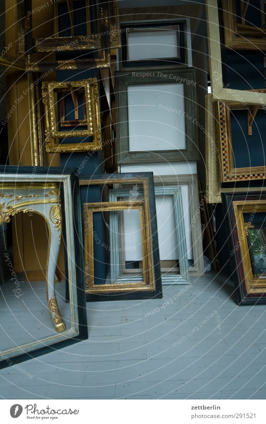 picture frames Frame Picture frame Image Selection Wood Art Antique Flea market Jewellery Ancient gold frame Art gallery Museum Art market