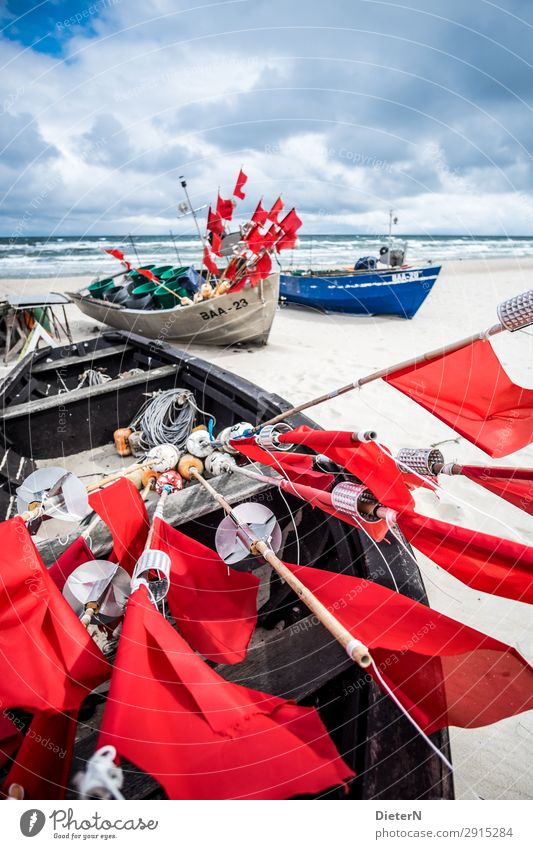 linkage Fishery Fishing boat Blue Red White Flag Rod Horizon Water Ocean Watercraft Colour photo Exterior shot Deserted Copy Space top Day Light Shadow Contrast